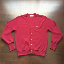 Vintage Lacoste Izod 80s Maroon Dark Red Cardigan Mens Large Fits Medium