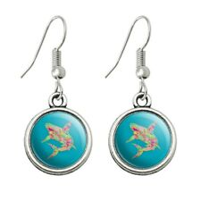 Novelty Dangling Drop Charm Earrings Mosaic Lily Shark Tropical Island Surf