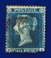 1855 SG23a 2d Blue Plate 5 Spec F3 EA Rich Shade Cork 156 Fair Used Cat£350 cxlq