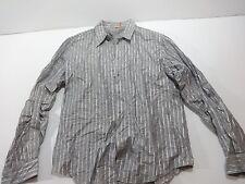 HUGO BOSS ORANGE Label Striped Greay Silver L/S dress Shirt XL # 2