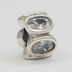 New Authentic Pandora Charm Clear Oval Lights Sterling Silver Retired 790311CZ