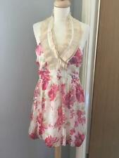 Woman's New Pink Ivory Floral Alter Neck Summer Holiday Party Dress size M 8/10