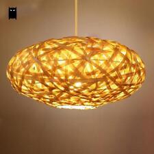 Bamboo Wicker Rattan Lantern Shade Pendant Light Fixture Ceiling Lamp Chandelier