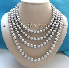 "75"" longest Genuine Natural 10mm Gray Round Pearl Necklace #f3030!"
