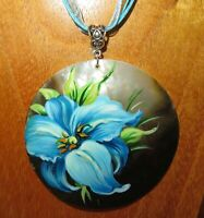 PENDANT BLUE LILY FLOWER Genuine Russian hand painted Black Lip SHELL Unique ART