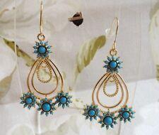 Pretty Gold Tone Tear Drop Floral Turquoise Resin Stones Dangle Pierced Earrings