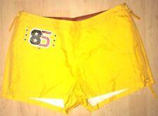 Rare 2001 Tommy Jeans Womens Yellow Wind Breaker Shorts Zipper Side Size 7