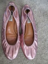 LANVIN pink metallic leather flats shoes sz 7 - 7.5