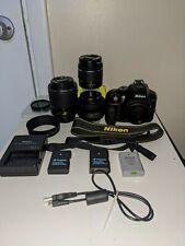 Nikon D5300 DSLR Camera With 35mm Prime, 18-55mm and 55-200mm Lenses Kit - Black