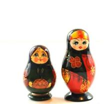 """4 Piece Russian Nesting Doll Set 3"""" And 2.25"""" Hand Painted"""