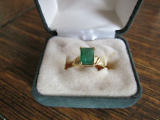 EMERALD CUT GENUINE 2 CT EMERALD 14 KT YELLOW GOLD LADIES RING SZ 8
