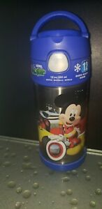 Thermos Funtainer 12 Ounce  Stainless steel blue Bottle Mickey Mouse 12 hrs cold