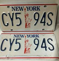 VINTAGE NEW YORK 1986-2000 STATUE OF LIBERTY LICENSE PLATE SET - CY5-94S