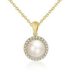 Pearl 14K Yellow Gold 2.24CT Real Natural Halo Diamond Delicate Pendant Jewelry