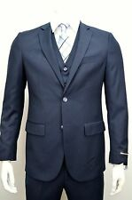Men's Navy Blue 3 Piece 2 Button Slim Fit Suit SIZE 46R NEW