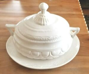 Antique White Ironstone Lidded Soup Tureen with Under Plate