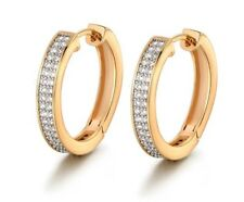 Yellow gold two tone double row created diamond hoop earrings  gift idea