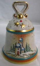 "Hand Painted Etched Christmas Bell Italy 1978-79 5.5"" New Years 4"" Dia. Ceramic"