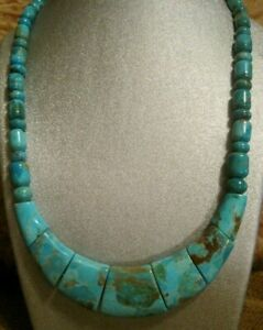 AWESOME! JAY KING DTR NATURAL TURQUOISE SLAB & BEADED STERLING SILVER NECKLACE