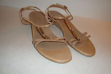 Stuart Weitzman Womens NWOB Treaty Patent Tan Wedge Sandals Shoes 10 MED NEW
