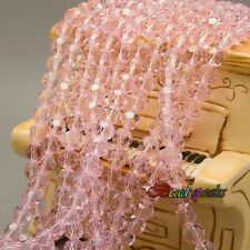 One Strand 6 mm Pink Faceted Round Glass Crystal Beads -CQ212