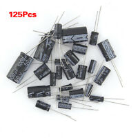 125 Pcs 1uF Electrolytic Capacitors 2200uF 25 Values Assorted Kit Set AD
