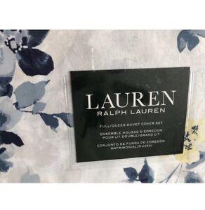 NWT! RALPH LAUREN F/QUEEN 3PC DUVET COVER SET Floral BLUE/WHITE /YELLOW.