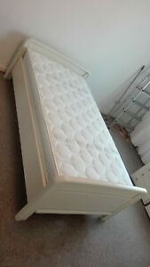 Sturdy White Bed With Good Markenmatratze + Slatted Frame