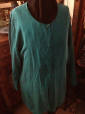 Women'S Vintage Pure Silk Blouse Emerald Green Button-Down 3/4 Sleeve