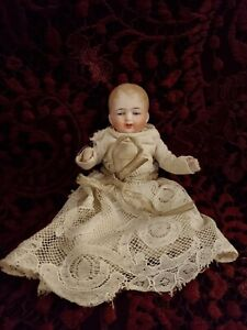 Antique German Marked 9775 Miniature Jointed All Bisque Baby Doll Adorable