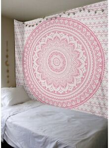 Queen Pink Ombre Cotton Wall Hanging Tapestry Hippie Boho Gypsy Mandala Bedsheet