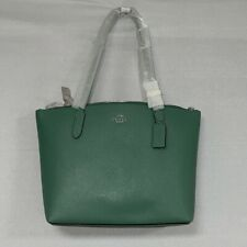 Coach Women's Zip Top Tote in Crossgrain Washed Green Leather NWT