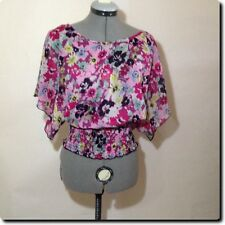 Wet Seal Pink and Purple Floral Sheer Open Back Bat Wing Sleeved Top M