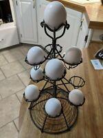Wire Egg Holder Tiered Stand Wireware Unique Primitive Kitchen Ware Contemporary