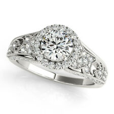1.10 Ct Round Real Diamond Engagement Ring For Women 18K White Gold Size 6 7 8 9