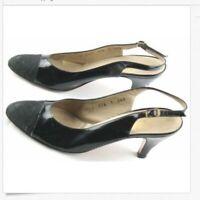Salvatore Ferragamo Singback Heels Womens Size 7 AAA Black Patent Leather