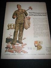 "ORIGINAL 1943 ""BABY RUTH"" CURTISS CANDY SOLDIER WORLD WAR II PRINT AD"