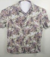 Tasso Elba Island Men's Shirt Size L Hawaiian Tropical Print Silk/Linen Blend
