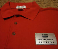 Men's US Airways Express Airlines Reflective Patch Polo Golf Shirt Red XL Cintas