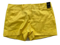 "New York & Company 4"" Sateen Short Just Below Waist Cuffs Yellow Size 16 NWT"