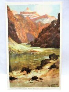 1920s FRED HARVEY POSTCARD ARTIST SIGNED ERTZ,COLORADO RIVER,GRAND CANYON AZ