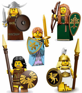 LEGO Minifigs Ser7/9/10/12/17 Viking+WarriorWoman+ForestMaiden+BattleGoddess+Elf