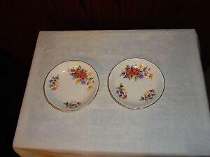 Pair Swinnertons Staffordshire England Luxor Vellum butter jam pin dish floral