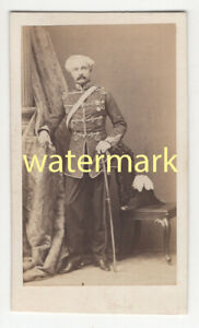 Colonel Draper, wearing medal and with plumed helmet, Calcutta, India, CDV