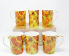 Lesser & Pavey Vincent Van Gogh Sunflower Fine China Mugs Set of 6 Gift Boxed