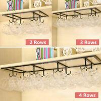 Metal 8 Hook Under Shelf Mug Cup Cupboard Kitchen Organiser Hanging Rack Holder