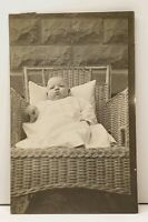 RPPC Cute Chubby Cheek Baby in Wicker Chair Postcard C1