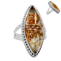Artisan - Cacoxenite 925 Sterling Silver Ring Jewelry s.6 RR165013