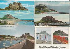 6 postcards Jersey Mont Orgueil Castle Gorey Harbour
