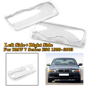 1Pair Car Clear Headlight Headlamp Lens Cover Shell For BMW E38 1999-2001